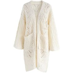 Chicwish Sing For Joy Open Knit Longline Cardigan in Cream ($60) ❤ liked on Polyvore featuring tops, cardigans, white, long line cardigan, white cable knit cardigan, cream cardigan, chicwish tops and cardigan top