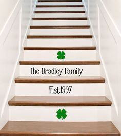 Vinyl Stair Riser Decals - Custom Family Name and Established Date - Charming Surname Married Name and Wedding Day Year Riser Stickers by crowbabys on Etsy Staircase Decals, Staircase Remodel, Stair Stickers, Stair Risers, Banisters, Basement Stairs, House Stairs, Painted Stairs, Cleaning Walls