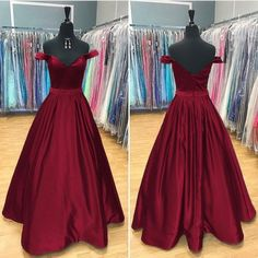Long Satin V Neck Off Shoulder Prom Dresses Ball Gowns Beaded Sashes