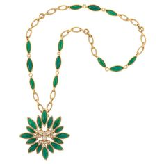 Lot 437 - Long Gold and Green Chrysoprase Chain Necklace with Pendant-Clip-Brooch, Van Cleef & Arpels, France