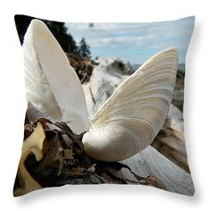 Beachcombing Throw Pillow by Micki Findlay - TheSingingPhotographer.com - various sizes, home decor, cushion, qualicum beach bc, vancouver island, seashell, ocean, beach decor