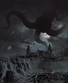 Bélem Upsidedown by Keoma Calandrini Arte Horror, Gothic Horror, Horror Art, Lovecraftian Horror, Eldritch Horror, Call Of Cthulhu, Fantasy Places, Fantasy Monster, Sombre