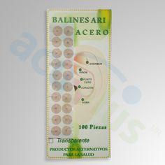Balines Ary Balines de acero con parche redondo  ideales para tu terapia de Auriculoterapia paq. con 100 pzas