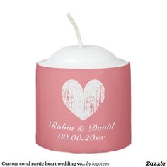 Custom coral rustic heart wedding votive candles