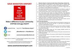 Save Manston Airport, Kent. Flyer A4 Landscape