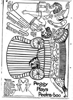 1920's Paper Craft - Moveable Peggy Plays Peek-a-Boo