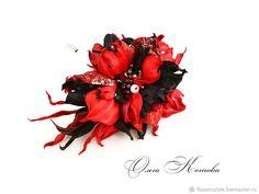 Купить Красно черная брошь из кожи Танго в подарок украшение в интернет магазине на Ярмарке Мастеров