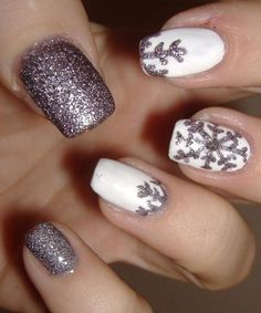 Cute Glitter Snow Flakes on White Prom Nail Art Designs