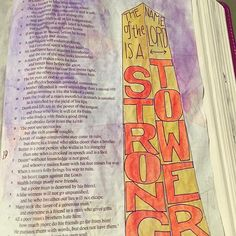 Doing more of the #shereadstruth #proverbs study. The Name of the Lord is a Strong Tower! Just his name can have that much power? Gosh that's hard to even imagine, and yet it is comforting to know I can find protection if I run to Him.  #Biblejournalling #koiwatercolors #strongtower #srtproverbs #ipaintinmybible #createeveryday  #createdtocreate #illustratedfaith #vscogood  #biblejournalingcommunity