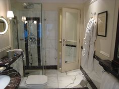 Loved this bathroom... it was exactly like this! Savoy Hotel, London (Christmas).