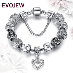 Bracelets. Christmas Gift 925 Antique Silver Charms Beads Fit Original Bracelet & Bangle with Daisy Heart Charm Bracelet for Women Jewelry. #Bracelets