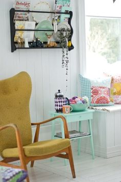 "Love the colour scheme, light & bright. Lots of lovely textiles and collections - but still looks ""fresh and airy"""