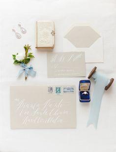 neutral wedding stationery
