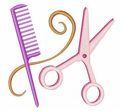 Windmill Designs Embroidery Design: Barber Tools 3.20 inches H x 3.33 inches W