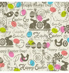 Easter background with rabbits vector pattern - by sunnyfrog on VectorStock®