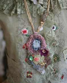 Kitty pendant  necklace- baroque inspired, romantic cute pendant necklace, hand embroidery, beading with vintage textiles