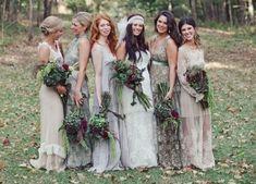 LOVE. Dream dresses... lavender, nude palette. Just beautiful unique dresses.  Mismatched Bridesmaid Dresses