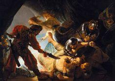 """Rembrandt.""""Samson and Delilah"""". Oil on canvas, 206 x 276 cm 1636. Frankfurt, Städelsches Kunstinstitut und Städtische Galerie."""