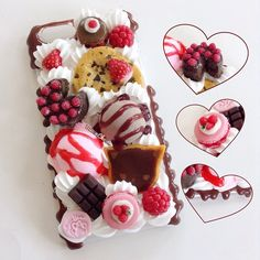 Custom raspberry, strawberry, and chocolate themed case for the lovely 😄🍓🍫🍰 It's so berry delicious 😉❤️ Kawaii Phone Case, Decoden Phone Case, Diy Phone Case, Cute Cases, Cute Phone Cases, Iphone Cases, Raspberry Cake, Strawberry, Polymer Clay Sweets