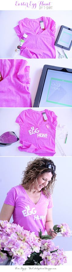 Let's make a DIY t-shirt for that upcoming Easter egg hunt! Easter Egg Hunt DIY T-Shirt Tutorial Easter Crafts, Holiday Crafts, Easter Ideas, Holiday Themes, Fun Crafts, T Shirt Tutorial, Easter Outfit For Girls, Easter Activities For Kids, Easter Celebration