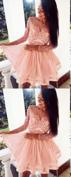Prom Dresses Ball Gown, A-Line Bateau Pearl Pink Tulle Homecoming Dress with Appliques Sleeves, from the ever-popular high-low prom dresses, to fun and flirty short prom dresses and elegant long prom gowns. Long Sleeve Homecoming Dresses, Long Sleeve Short Dress, Long Prom Gowns, Grad Dresses, Short Prom, Dresses For Teens, Simple Dresses, Beautiful Dresses, Evening Dresses
