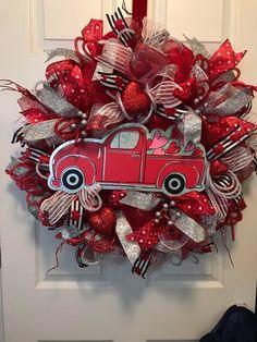 Red Truck Valentine Wreath, Deco Mesh Wreaths, Deco Mesh Wreath, Red Truck Deco Mesh Wreath, Door Wr