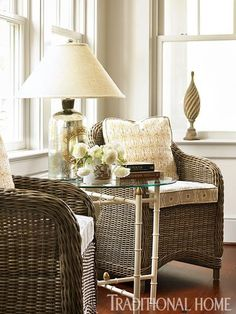 Breezy Lowcountry Home | Traditional Home Sitting Area Bamboo Table U0026 Wicker  Chairs
