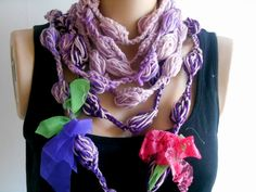 Crochet Scarf, Loop Scarf, Infinity Scarf, Gypsy Scarf, Knitting Necklace, Fiber Necklace, Chunky Scarf, Knitted Scarf, Long Knitted Scarf    100% Cotton, made from yarn. Stylish Accessory. The colors are spectacular. On cold winter days, it keeps warm. Scarf and Necklace, used as. It was decorated with tulle. Long Scarf.  Lightly wash with light or warm water and leave to dry.  The product is ready to ship. The product will be sent when payment is received. You can follow the process with…