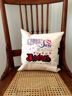 Sassy Girl Pillow Cover - Embroidered Saying Pillow by LindasOtherLife on Etsy