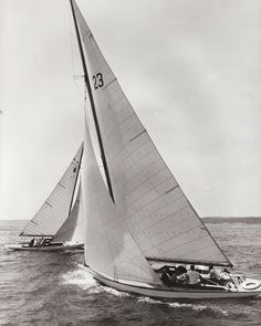 Prince of Wales Yacht Race [R-class Highlander in the background] Nova Scotia Information Service Nova Scotia Archives no. NSIS 13216