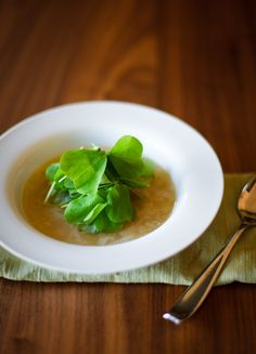 spring onion soup, wild sorrel and sherry