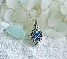 Sea glass locket necklace. Blue teardrop locket. Sea glass jewelry. on Etsy, $23.99
