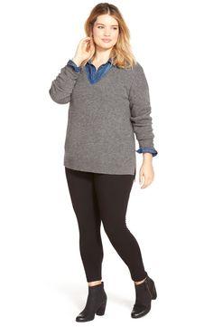 Halogen® Drop Shoulder V-Neck Cashmere Sweater (Plus Size)