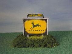 Scratch built HO Scale Trains Lighted John Deere Dealer Sign for Model Railroads #Handmade