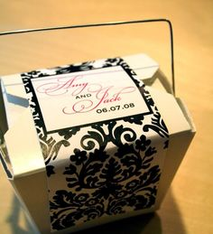 Send cake home with guests- Damask Favor Packaging with Chinese Take Out Box