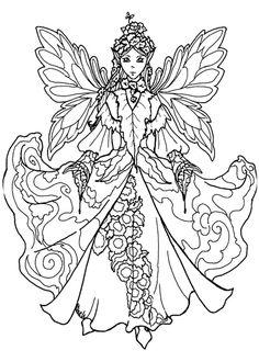 ein hübsches ausmalbild einer fee. die malvorlage kannst du kostenlos auf www.mandala-malen