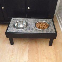 Raised dog food bowls made by my dad! So cute!