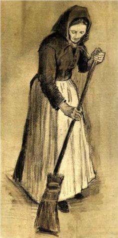 Woman with a Broom - Vincent van Gogh
