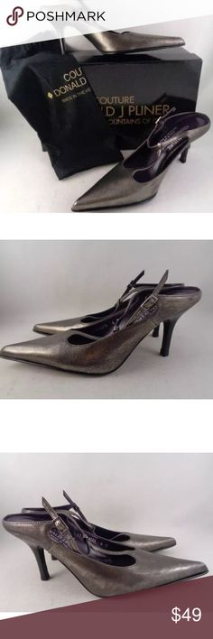 Donald J Pliner Couture Size 6M Leather Donald J Pliner Couture Size 6M Leather Womens Pumps Chandra Pewter Open Back New! Donald J. Pliner Shoes Heels