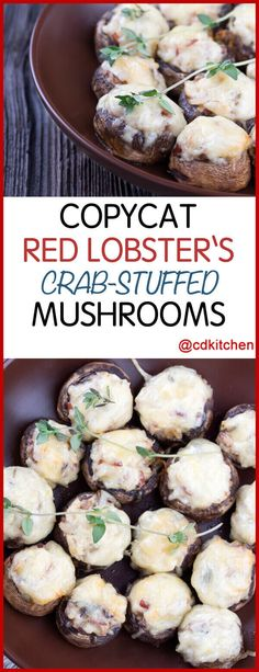 Copycat Red Lobster's Crab Stuffed Mushrooms – Everyone's favorite stuffed mushr… - seafood recipes Shrimp Appetizers, Yummy Appetizers, Appetizer Recipes, Mushroom Appetizers, Recipes Dinner, Dinner Ideas, Lobster Recipes, Seafood Recipes, Cooking Recipes