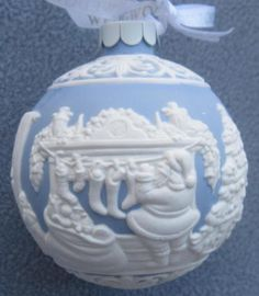 Wedgwood Blue Jasperware Twas The Night Before Christmas Santa Ball Ornament