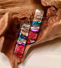 Contemporary rectanular fused dichroic glass earrings incredible depth shimmering intense colors red blue silver sterling ear wires handmade by ChrysalisDreams on Etsy