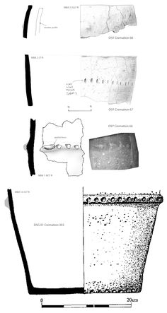 Figure 1. Drayton Quarry, Chichester. Deverel-Rimbury urns from cremations 66, 67, 68 and 303