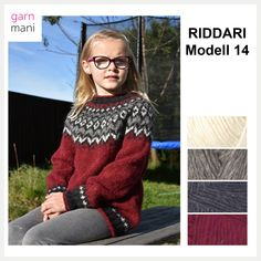 28-03 RIDDARI Modell 14 - Garnmani.no - Spesialist på islandsk garn Icelandic Sweaters, Nordic Sweater, Red Sweaters, Crochet Clothes, Diy Crafts, Pullover, Embroidery, Boho, Sewing