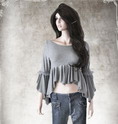 Women blouse gray cascade top long sleeve by tratgirl55 on Etsy