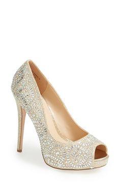These Lauren Lorraine crystal peep toe pumps are incredible.