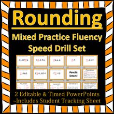 Rounding Speed Drill - mixed practice (includes decimals)!  2 timed and editable PowerPoints.  $3