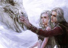 "Targaryen by Illatte (~aprilis420, China) : ""Song Of Ice And Fire. Viserys Targaryen and Daenerys Targaryen and the dragon bone"" {digital, 2012}"