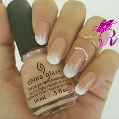 "هذه #أظافر اليوم  Bamboo Nails or as it's known Gradient French Nails using China Glaze in ""Sorry I'm Latte"" and ""White On White"""