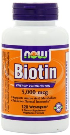 NOW Foods Biotin 5000mcg.  This is the secret to my clear skin!! Biotin makes hair and nails grow fast and thick. It's good for your skin and gives it a pseudo-tan glow all year long. It also helps prevent grays and hair loss.